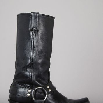 On The Run Moto Biker Leather Harness Boots