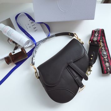 Dior MINI SADDLE BAG IN BLACK CALFSKIN