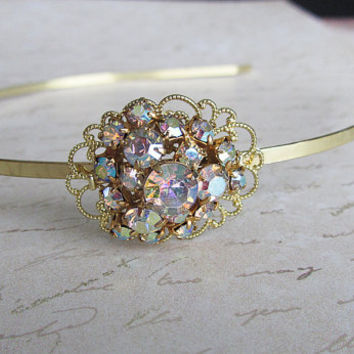 Aurora Borealis Rhinestone Headband, Bridal Hair Jewelry