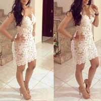 Fashion Women Sexy Party Dresses Crochet Hollow Stitching Gauze Dress Beige = 1695860612