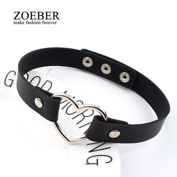 Trendy Stainless Steel Heart Chokers Necklaces Buckle Belt Jewelry for Women