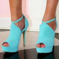 All Eyes On Me Mint Platform Cutout Heels