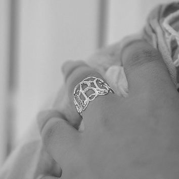 silver monogram Ring Personalized sterling silver ring metalwork customized silver handmade ring nameplate jewelry gift for girlfriend
