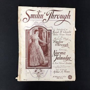 "Vintage Sheet Music ""Smilin' Through"" 1920's Love Songs 1922 Norma Talmadge Scrapbooking Art Deco Music Decor Sheet Music Art Paper Flowers"