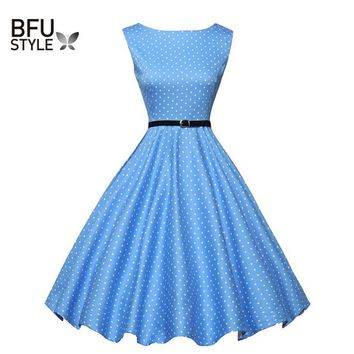 Ukraine Summer Women Dress Floral Print Retro Vintage 50s 60s Polka Dot Vintage Blue Dress Elegant Sleeveless Party Robe vestido