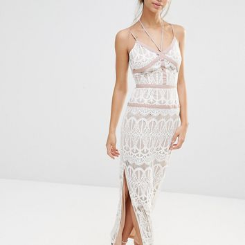 Boohoo Boutique Lace Satin Trim Maxi Dress