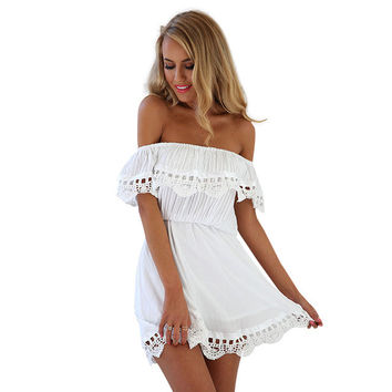 2016 new style summer Women white lace stitching dress Off shoulder strapless sexy dress Slash neck mini dresses