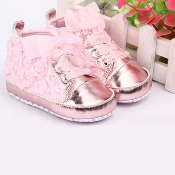 Rose Flower Lace Baby Kids Shoes Soft Bottom Prewalker Toddler Shoes Size 4 5 6