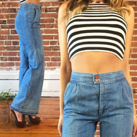 SALE Vintage 1970's High Waisted BELL BOTTOM Denim Male Brand Jeans || Long Length || Size 26 27 28