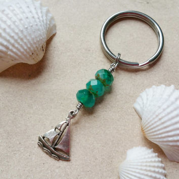 Silver Boat Keychain with Stainless Steel Key Ring, Ocean Sailing Gifts for Boaters, Beaded Sailboat Charm Keychain