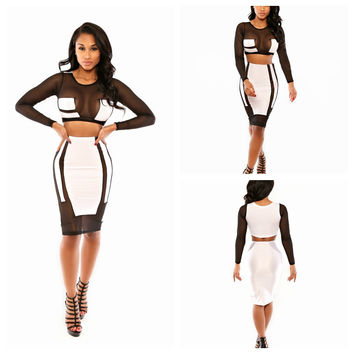 Black Mesh Accent Long Sleeve Bodycon Cropped Top and Midi Pencil Skirt Set