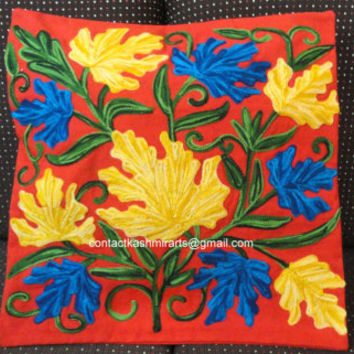 Bespoke Red Yellow Blue Green Pillow Cover/Embroidered Throw/EuroSham Cushion/16x16/20x20/Floral Round Pillow/Accent Pillow/Oblong/Floor/Tos