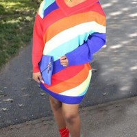New Red Striped Irregular One Shoulder Rianbow Oversized Casual Mini Dress