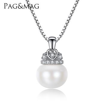 PAG&MAG Charm Shell Design Pearl Jewelry Pearl Necklace Pendant 925 Sterling Silver Jewelry Fashion Necklaces for Women 2017