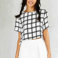 Glamorous Windowpane Cropped Top- White