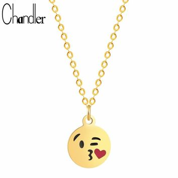 Chandler Sweet Kiss Emoji Love Pendant Necklace Round Steel Cartoon Funny Face Charm Heart Maxi Jewelry Cartoon Kpop Bib Colier