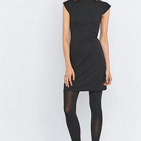 Sparkle & Fade Mock Neck Ribbed Black Dress - Urban Outfitters