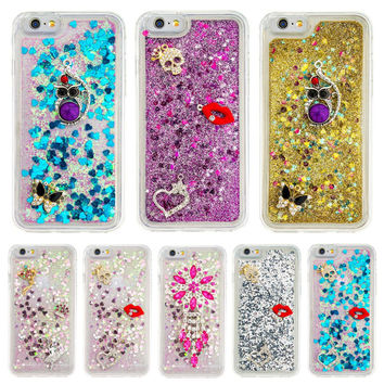 DEEVOLPO Bling Glitter Rhinestone Moving Quicksand Soft TPU Case for Apple iPhone 7 iPhone7 Coque Cover DP31