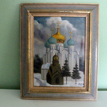 Vintage Signed Painting Russian Church In the Snow, Orthodox church, Collectible Wall Decor