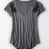 AEO Soft & Sexy V-Neck Favorite T-Shirt, True Black