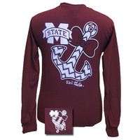 MSU Mississippi State Bulldogs Chevron Anchor Bow Girlie Bright Long Sleeve T Shirt