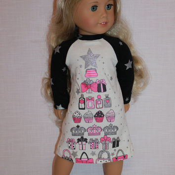 18 inch doll clothes, graphic print nightdress,graphic print nightshirt, pajamas,  handknit slippers, Upbeat Petites