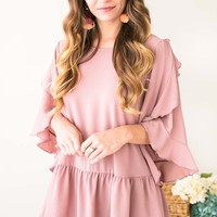 Going Steady Mauve Ruffle Tunic