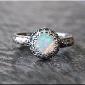 Opal Ring, Crown Bezel Set Opal Ring, Sterling Silver gemstone Ring, Opal Cocktail Ring, Stacking Ring, Flower Detail Fire Opal Promise Ring