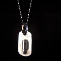 Sterling Silver 9mm Bullet Dog Tag Pendant