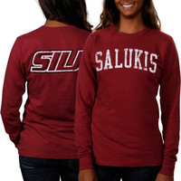 Southern Illinois Salukis Women's Long Sleeve Fitted Slab Serif T-Shirt – Maroon