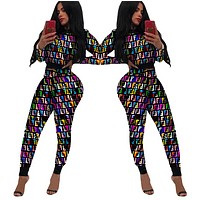 Fendi New fashion colorful more letter print long sleeve top and pants two piece suit women