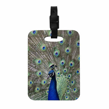 """Qing Ji """"Peacock of Stunning Feathers"""" Brown Green Decorative Luggage Tag"""