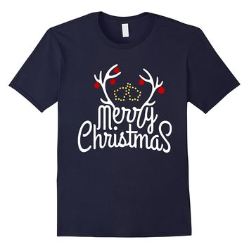 MERRY CHRISTMAS T SHIRT-REINDEER-SLEIGH BELLS-TEE SHIRT