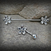 Flower Industrial Barbell Scaffold Piercing and Belly Ring 14ga Body Jewelry Piercing Jewelry 316L Surgical  Steel Scaffold