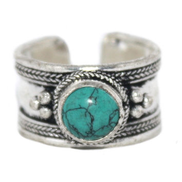 Turquoise Ring, Adjustable Ring, yoga ring, Silver ring. Tibetan ring