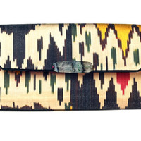 "One of a kind ""Mina Agate"" Ikat Clutch in 'Bauhaus' print"
