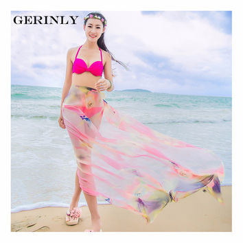 GERINLY 150*180cm Scarves Pareo Women Fashion Flower Print Sheer Chiffon Sarongs Hijab Scarf New Summer Beach Cover Up Plus Size
