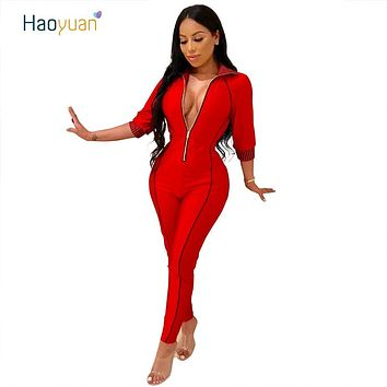 HAOYUAN Sexy Half Sleeve Bodycon Jumpsuit Autumn Overalls Casual Red Blue Dark Green Gold One Piece Zip Rompers Womens Jumpsuit