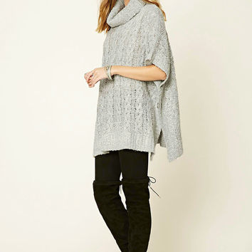 Cable-Knit Cowl Neck Poncho