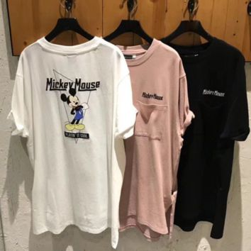 Mickey Mouse Summer New Bust Letter And Back Mouse Embroidered Pocket Short Sleeve T-Shirt Top Three color