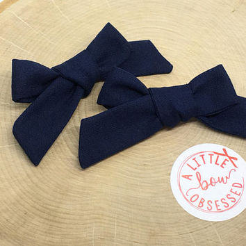 Navy Blue Cotton Schoolgirl Hair Bow, Single Bow or Pigtail Set, Clip or Nylon Headband, Girls Hair Bows, Solid Hair Bow