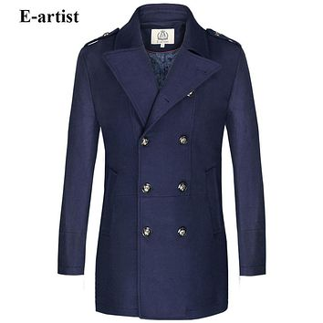 Men Long Double Breasted Wool Trench Coat Male Warm Winter Pea coats Jackets Outerwear Overcoats