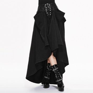 Devil Fashion Punk Women High Waist Long Skirts Steampunk Gothic Two-wear Black Skirt Lace-up Cotton Skirts
