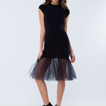 Trumpets They Go Tulle Midi Dress