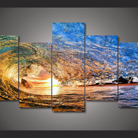 Surfs Up Ocean Surfing Wave 5-Piece Wall Art Canvas