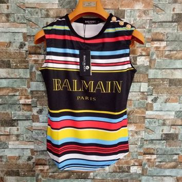 Balmain Women Casual Rainbow Print Multicolor Stripe Vest Sleeveless Buttons Decoration T-shirt Tops