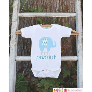 Blue Elephant Bodysuit - Elephant Onepiece Bodysuit - Little Peanut Elephant Outfit - Novelty It's a Boy Gender Reveal Outfit - Newborn Boy