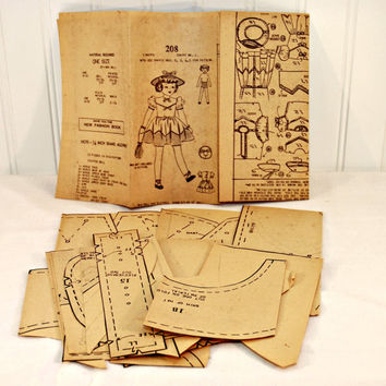 Rare Fashion Service Pattern 208 (c. 1940's) 27 Inch Vintage Rag Doll, Clothes and Hat, Newspaper Order Pattern, Unique Gift Idea