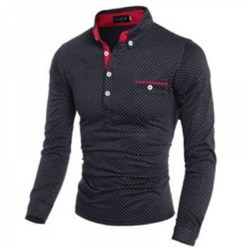British Style Turn-dwon Collar One Pocket Polka Dot Print Long Sleeves Polyester Polo