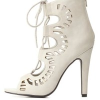 Lace-Up Cut-Out Peep Toe Booties by Charlotte Russe